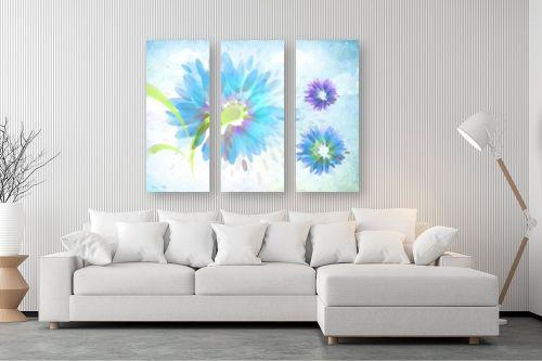 תמונה לסלון - נעמי עיצובים - פרחים על משיכות מכחול - מק''ט: 188949
