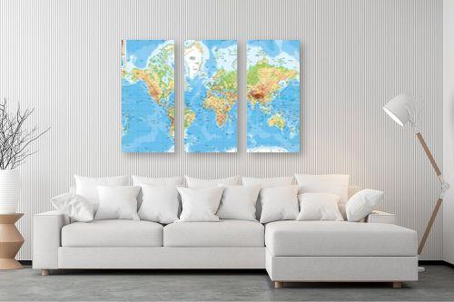 תמונה לסלון - מפות העולם - מפה של העולם פיזית - מק''ט: 198956