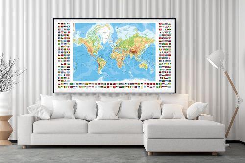 תמונה לסלון - מפות העולם - מפת העולם עם דגלי ארצות - מק''ט: 198959