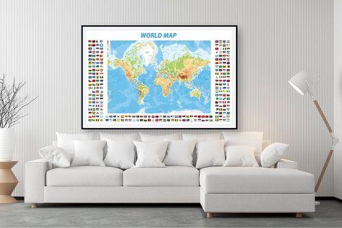 תמונה לסלון - מפות העולם - World Map with flags - מק''ט: 198960