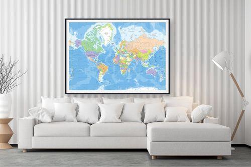 תמונה לסלון - מפות העולם - מפת עולם מדינית - מק''ט: 201304