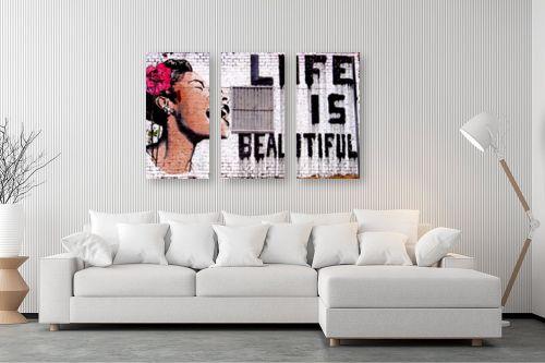 תמונה לסלון - בנקסי - Life is beautyful - מק''ט: 240021