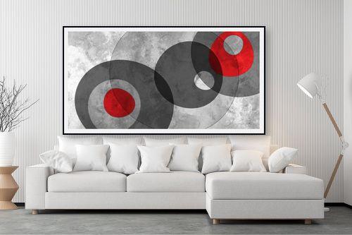 תמונה לסלון - נעמי עיצובים - צורות בחלל אפור אדום - מק''ט: 304876