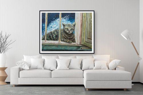 תמונה לסלון - דיאנה אורן - חתולה בחלוני - מק''ט: 315861
