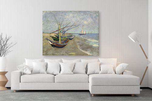 תמונה לסלון - וינסנט ואן גוך - fishing boats on the beac - מק''ט: 321271