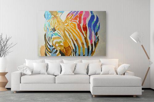 תמונה לסלון - Artpicked - זברה צבעונית - מק''ט: 329698
