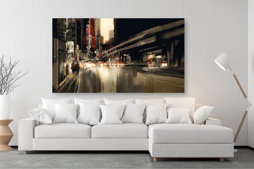 תמונה לסלון - Artpicked - עירוני באדום ושחור - מק''ט: 334714