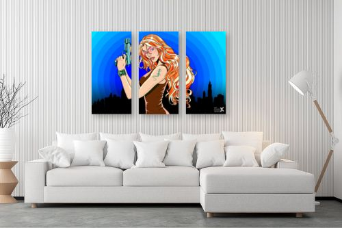 תמונה לסלון - חנן אביסף - Gun girl blue orange - מק''ט: 52126