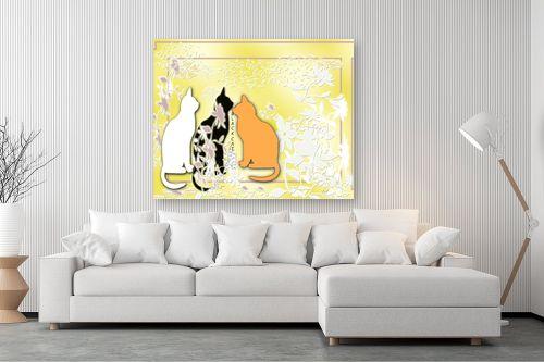 תמונה לסלון - יונה ראובני - חתולים - מק''ט: 64613