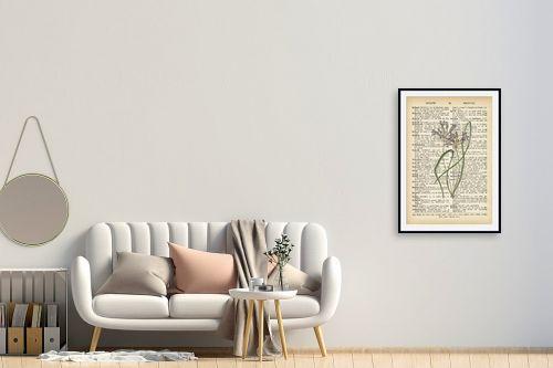 תמונה לחדר כניסה - Artpicked - צמח סגול לבן רטרו על טקסט - מק''ט: 330221