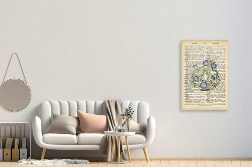 תמונה לחדר כניסה - Artpicked - צמח סגול רטרו על טקסט - מק''ט: 330420