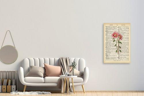 תמונה לחדר כניסה - Artpicked - זוג פרחים רטרו על טקסט - מק''ט: 330426