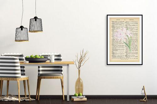 תמונה לפינת אוכל - Artpicked - סחלב לבן רטרו על טקסט - מק''ט: 330215