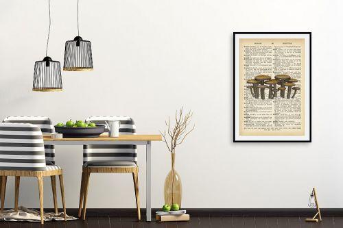 תמונה לפינת אוכל - Artpicked - פיטריות רטרו על טקסט - מק''ט: 330218