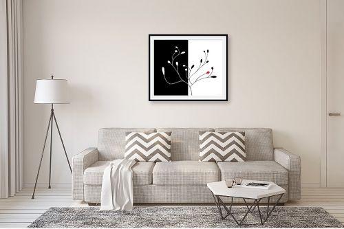 תמונה לסלון - נעמי עיצובים - שלכת שני חלקים שחור לבן - מק''ט: 157605