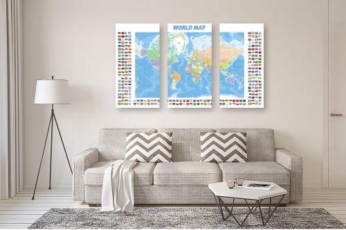 תמונה לסלון - מפות העולם - World map with flags - מק''ט: 201306