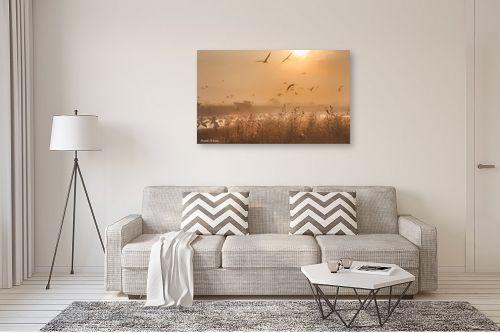 תמונה לסלון - איזבלה אלקבץ - עגורים בזריחה - מק''ט: 268930