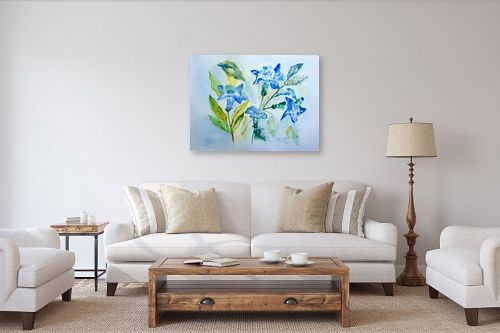 תמונה לסלון - רינה יניב - פרחים בכחול - מק''ט: 327826