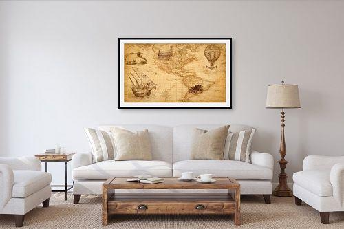 תמונה לסלון - מפות העולם - מפת עולם רטרו - מק''ט: 333004
