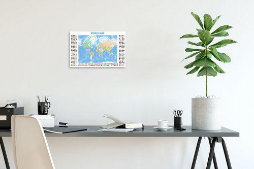 תמונה לפינת עבודה - מפות העולם - World map with flags - מק''ט: 201306
