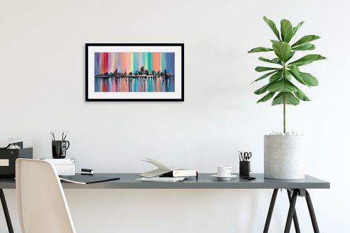 תמונה לפינת עבודה - Artpicked - נוף צבעוני של עיר - מק''ט: 334693