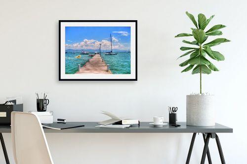 תמונה לפינת עבודה - מתן הירש - רציף, סירות וים - מק''ט: 336116