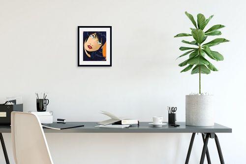 תמונה לפינת עבודה - חנן אביסף - אישה שחורת שיער פופ ארט - מק''ט: 52072