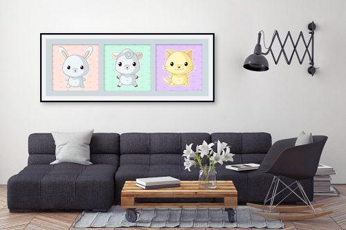 תמונה לסלון - נעמי עיצובים - שלשיית חיות 3 - מק''ט: 303505