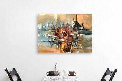 תמונה לפינת אוכל - בן רוטמן - צללית של עיר בנהר - מק''ט: 149041