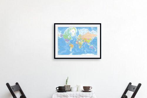 תמונה לפינת אוכל - מפות העולם - מפת עולם מדינית - מק''ט: 201304