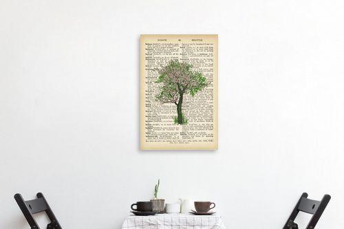 תמונה לפינת אוכל - Artpicked - עץ ירוק ורוד רטרו על טקסט - מק''ט: 330044