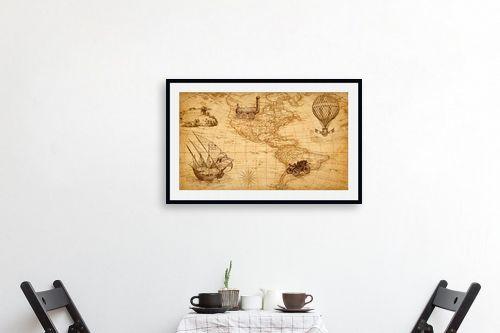 תמונה לפינת אוכל - מפות העולם - מפת עולם רטרו - מק''ט: 333004