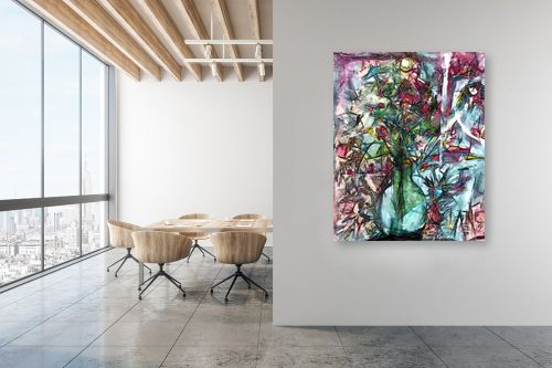 תמונה למשרד - בן רוטמן - פרחים באגרטל זכוכית - מק''ט: 158308