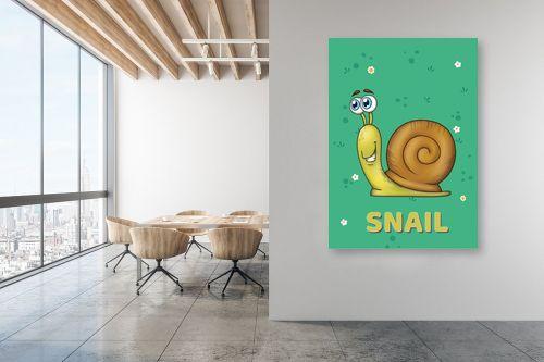 תמונה למשרד - חנן אביסף - שבלול חמוד על רקע ירוק - מק''ט: 326518