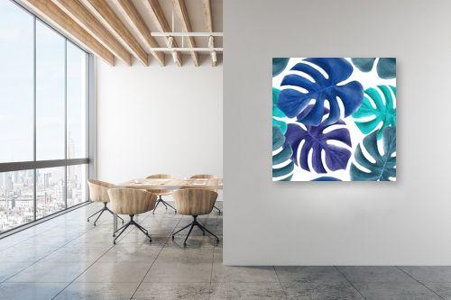 תמונה למשרד - Artpicked - עלי דקל כחולים - מק''ט: 329746