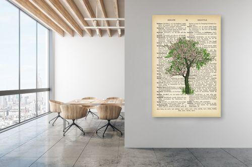 תמונה למשרד - Artpicked - עץ ירוק ורוד רטרו על טקסט - מק''ט: 330044