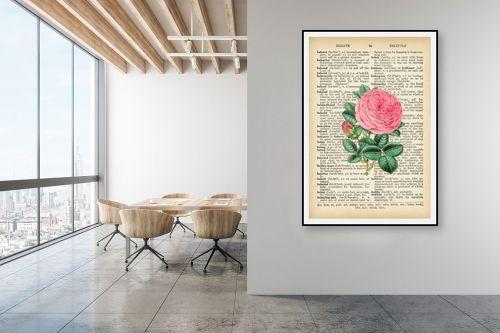 תמונה למשרד - Artpicked - ורד רטרו על טקסט - מק''ט: 330184