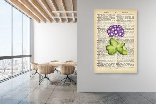 תמונה למשרד - Artpicked - ורד סגול רטרו על טקסט - מק''ט: 330187