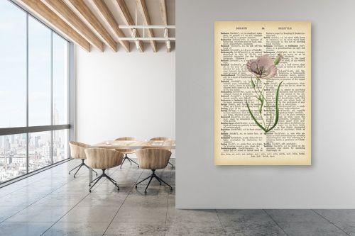 תמונה למשרד - Artpicked - פרג לבן רטרו על טקסט - מק''ט: 330207