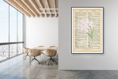 תמונה למשרד - Artpicked - סחלב לבן רטרו על טקסט - מק''ט: 330215