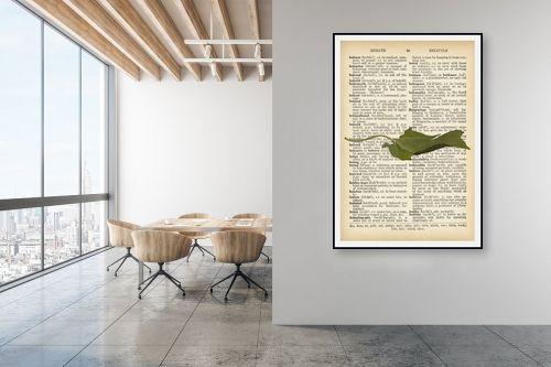 תמונה למשרד - Artpicked - עלה ירוק רטרו על טקסט - מק''ט: 330255