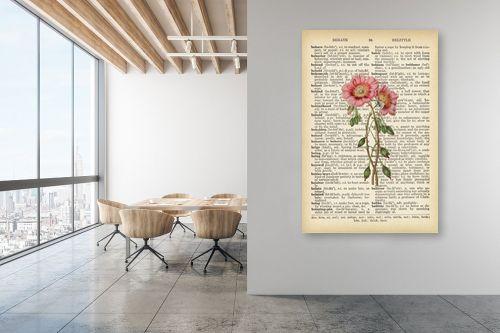תמונה למשרד - Artpicked - זוג פרחים רטרו על טקסט - מק''ט: 330426