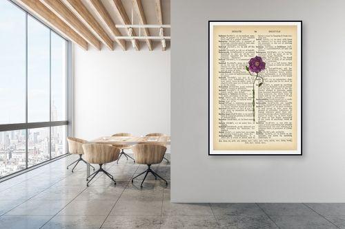 תמונה למשרד - Artpicked - פרח מחייך סגול רטרו טקסט - מק''ט: 330429