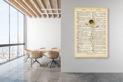 תמונה למשרד - Artpicked - פרח צהוב מחייך רטרו טקסט - מק''ט: 330431