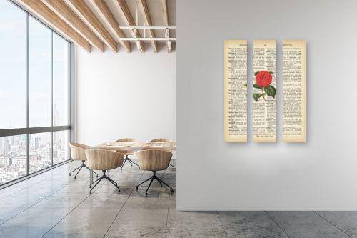 תמונה למשרד - Artpicked - ורד ורוד רטרו על טקסט - מק''ט: 330437