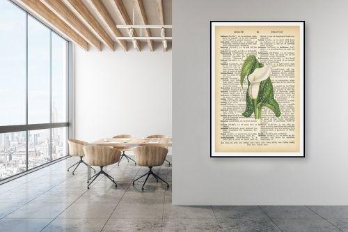 תמונה למשרד - Artpicked - פרח לבן ירוק רטרו על טקסט - מק''ט: 330440