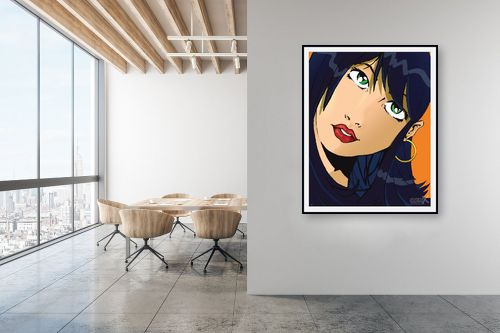 תמונה למשרד - חנן אביסף - אישה שחורת שיער פופ ארט - מק''ט: 52072