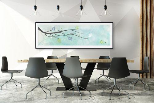 תמונה לחדר ישיבות - נעמי עיצובים - ענף בשלכת רקע תכלת - מק''ט: 164755