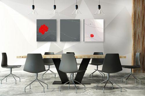 תמונה לחדר ישיבות - נעמי עיצובים - פרחים באדום - מק''ט: 168755