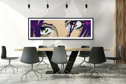 תמונה לחדר ישיבות - חנן אביסף - The eyes purple green - מק''ט: 52107